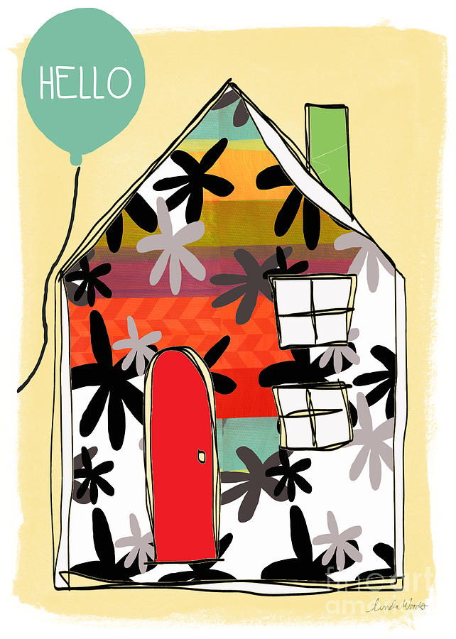 House Mixed Media - Hello Card by Linda Woods