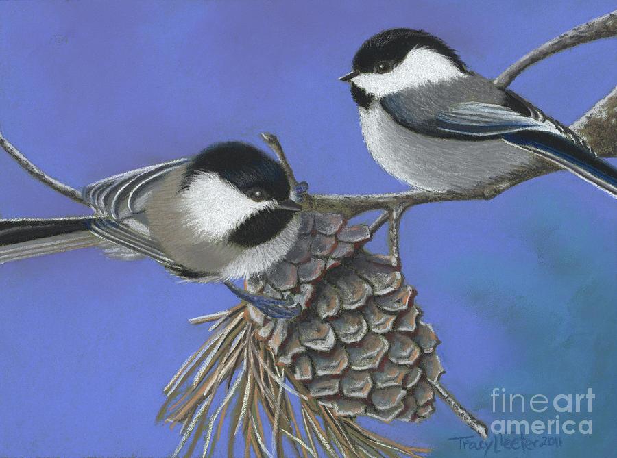 Bird Pastel - Hello Chickadees by Tracy L Teeter