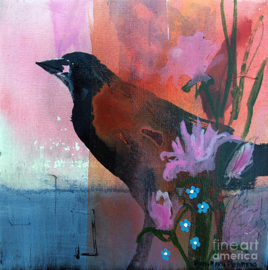 Crow Painting - Hello Crow by Robin Maria Pedrero