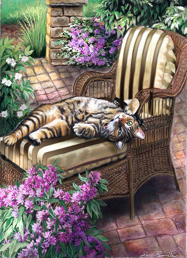 Garden Scene Painting - Hello From A Kitty by Regina Femrite