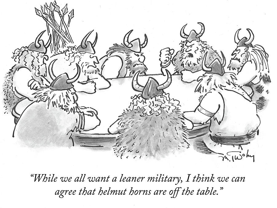 Helmut Horns Are Off The Table Drawing by Mike Twohy