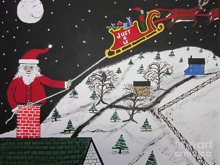 Christmas Card Painting - Help Santas Stuck by Jeffrey Koss