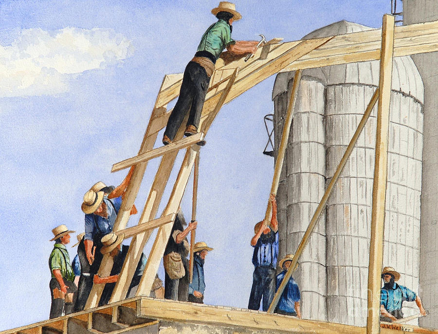 Amish Painting - Helping Hands Helping Hearts by John W Walker