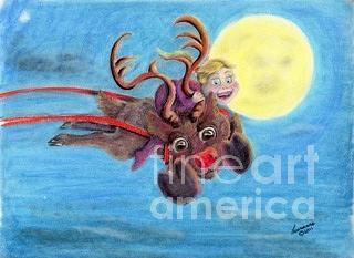 Cartoon Drawing - Helping Santa by Laurianna Taylor