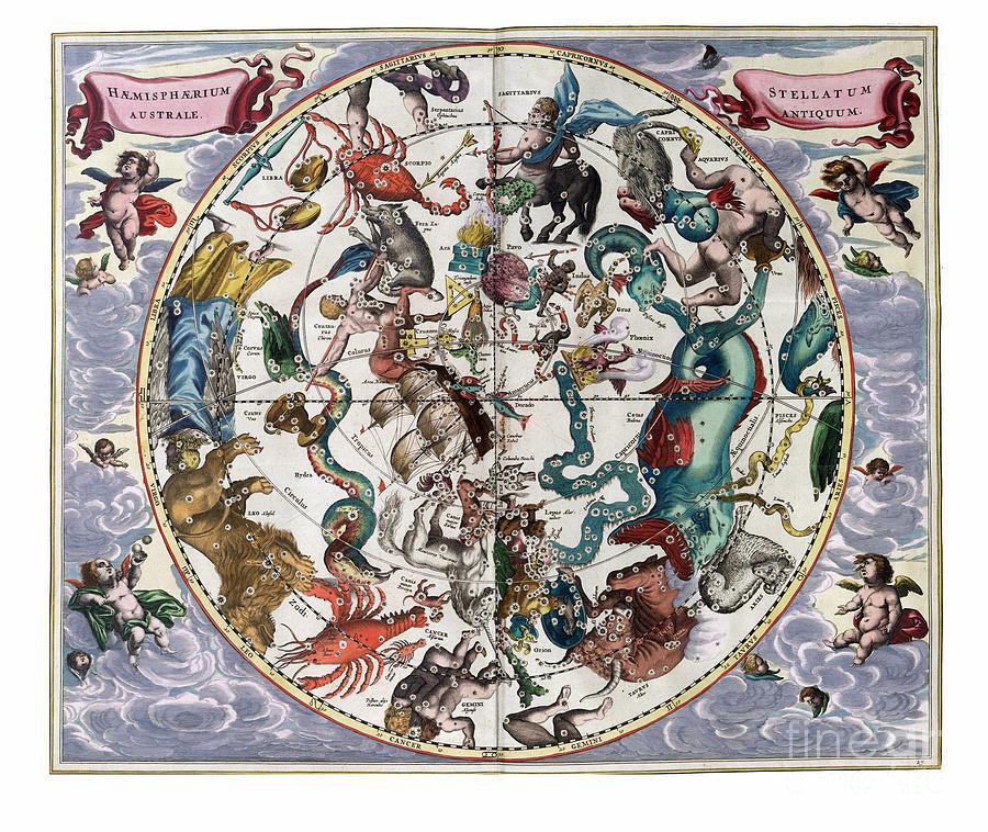 Astronomy Painting - Hemispharium Astraule by Johannes Hevelius