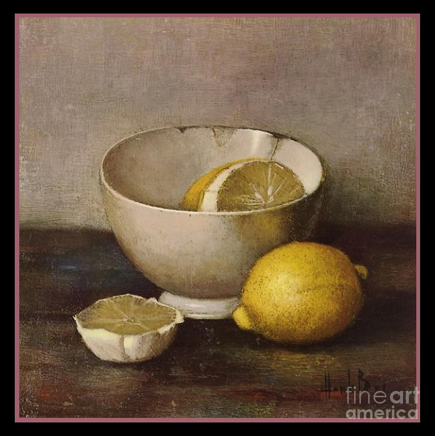Henk Bos Fruits Still Life Lemons With White Bowl Digital Art by Pierpont Bay Archives