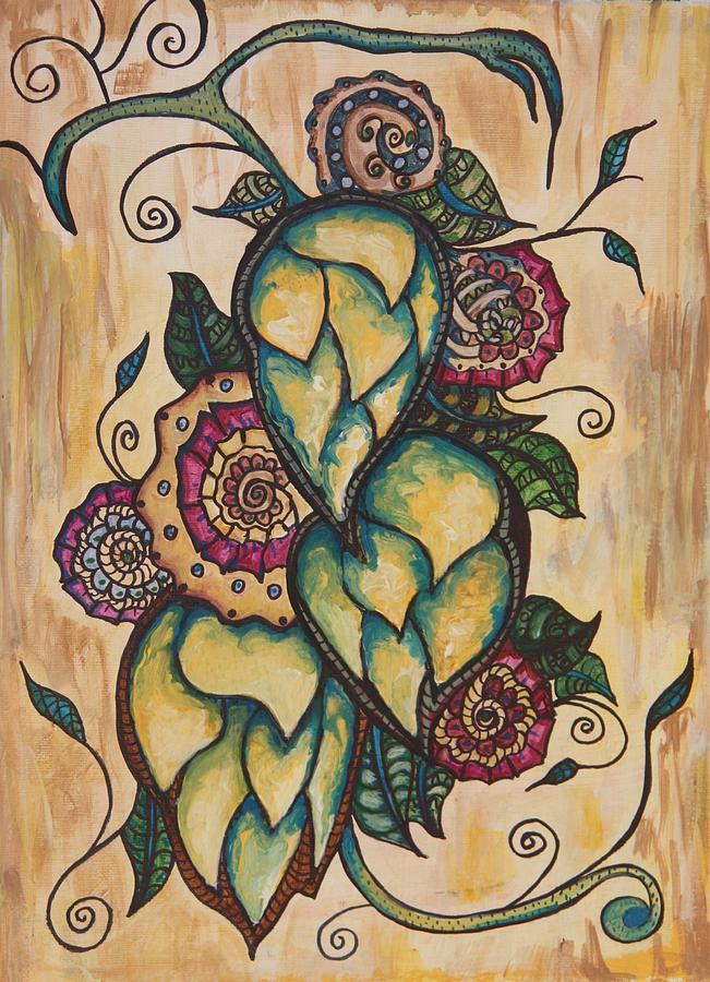 Henna Painting - Henna Hops Study 1 by Alexandra Ortiz de Fargher
