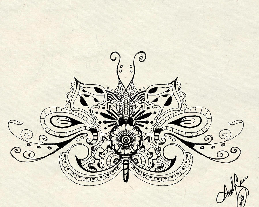 Henna Inspired Butterfly Digital Art by April Gann