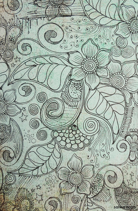 Henna Pattern Drawing - Henna Pattern by Salwa  Najm