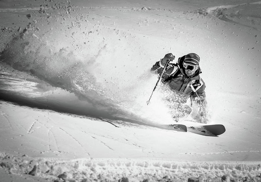 Action Photograph - Henri Making A Powder Turn... by Eric Verbiest