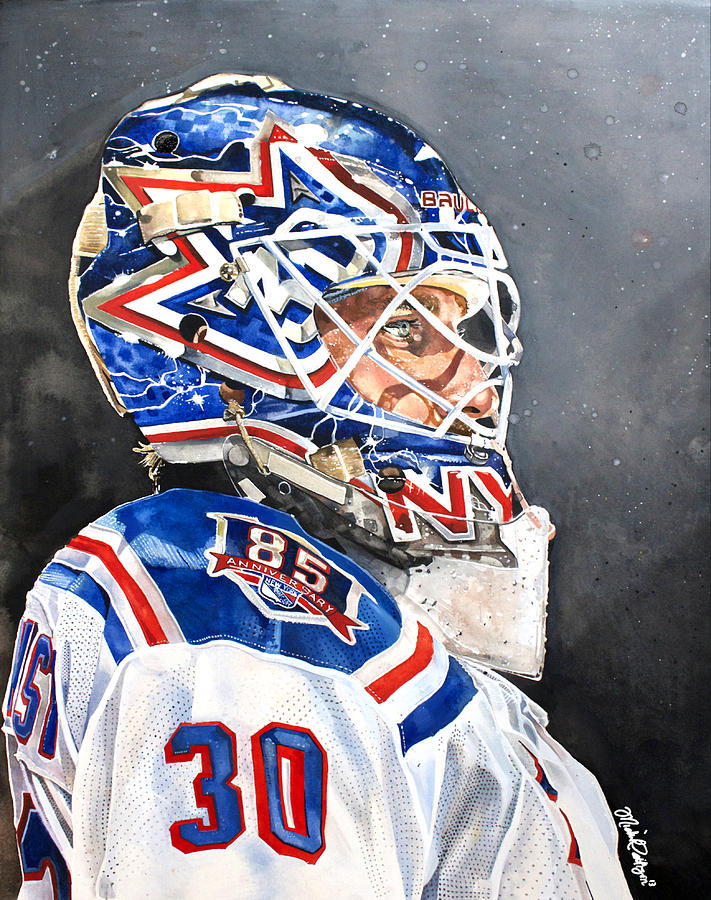 Henrik Lundqvist New York Rangers Painting By Michael Pattison