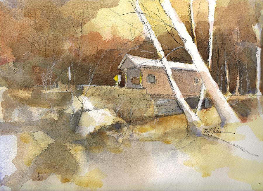 Covered Bridge Painting - Henry Bridge In Fall  by Robert Yonke