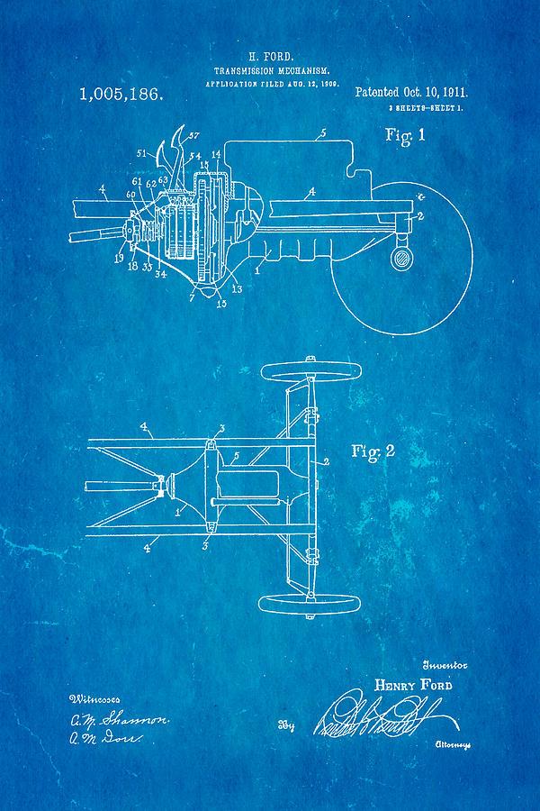 Automotive Photograph - Henry Ford Transmission Mechanism Patent Art 1911 Blueprint by Ian Monk