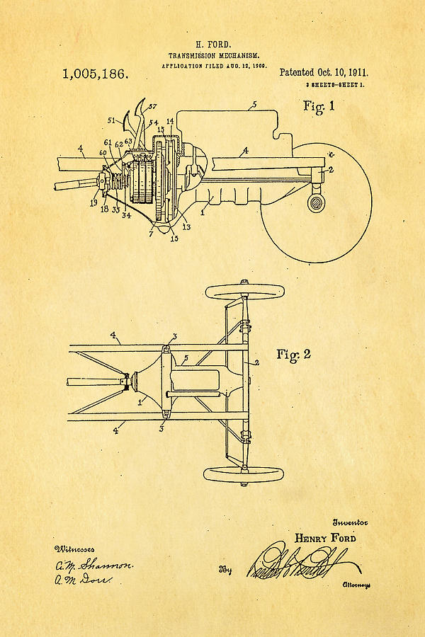 Automotive Photograph - Henry Ford Transmission Mechanism Patent Art 1911 by Ian Monk