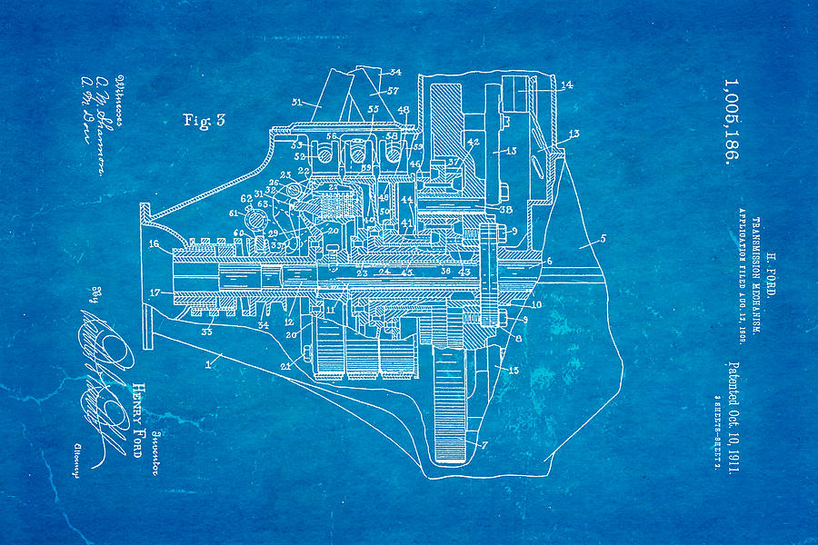 Henry ford transmission mechanism patent art 2 1911 blueprint automotive photograph henry ford transmission mechanism patent art 2 1911 blueprint by ian monk malvernweather Gallery