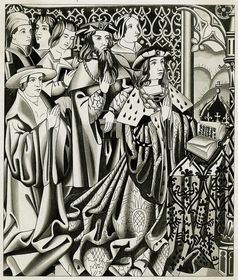 Henry Drawing - Henry Vi And His Court At  Prayer by Mary Evans Picture Library