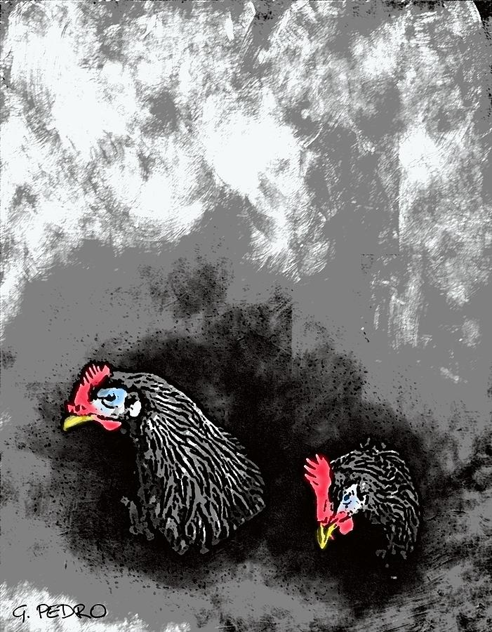 Cochin Digital Art - Hens At Rest by George Pedro