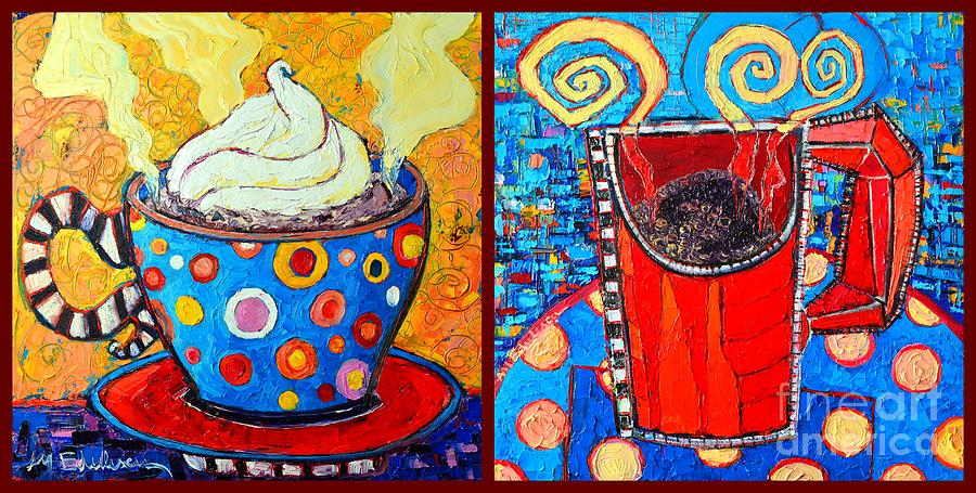 Coffee Painting - Her And His Coffee Cups by Ana Maria Edulescu