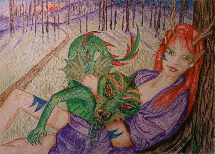 Dragon Drawing - Her Dragon by Carrie Viscome Skinner