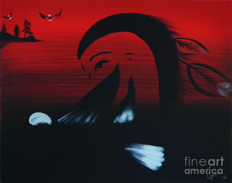 Native American Painting - Her Eagle Spirit by A Cyaltsa Finkbonner