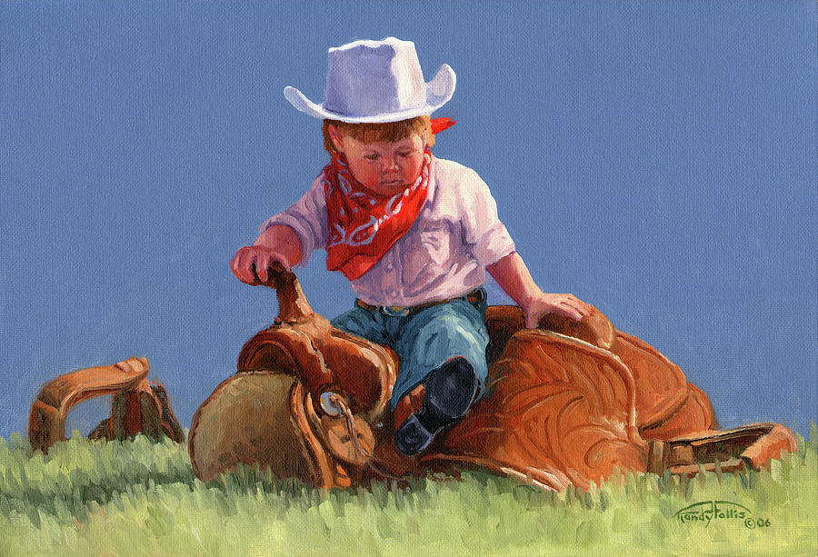 Cowgirl Painting - Her First Taste Of Texas by Randy Follis