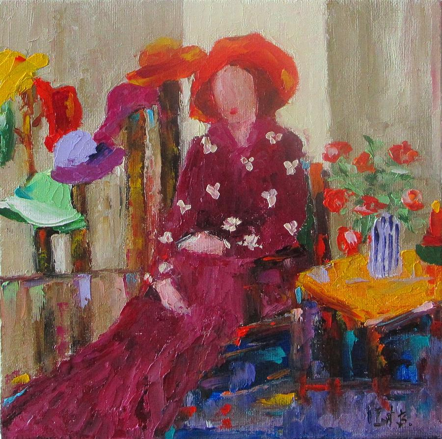 Figurative Painting - Her Hats by Irit Bourla