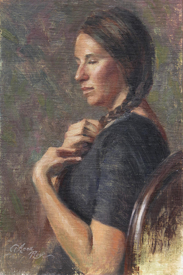Braid Painting - Her Long Braid by Anna Rose Bain