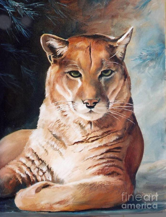 Cougar Painting - Her Majesty by Suzanne Schaefer