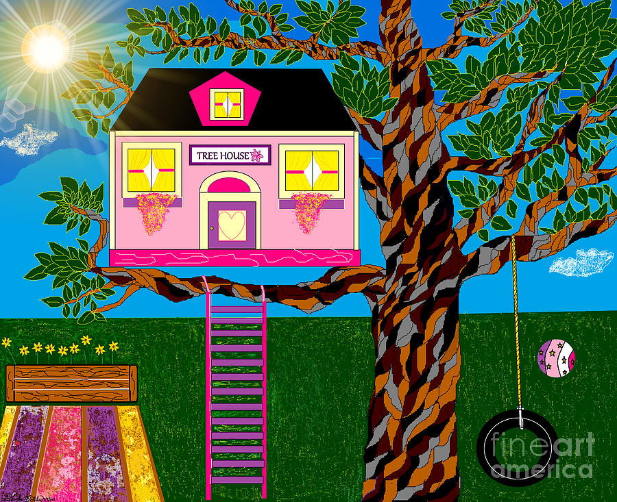 Tree House Digital Art - Her Tree House by Lewanda Laboy