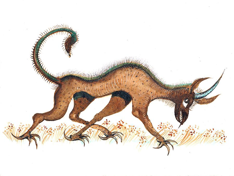 Jackal Painting - Heraldic Fantasy Creature by Ion vincent DAnu