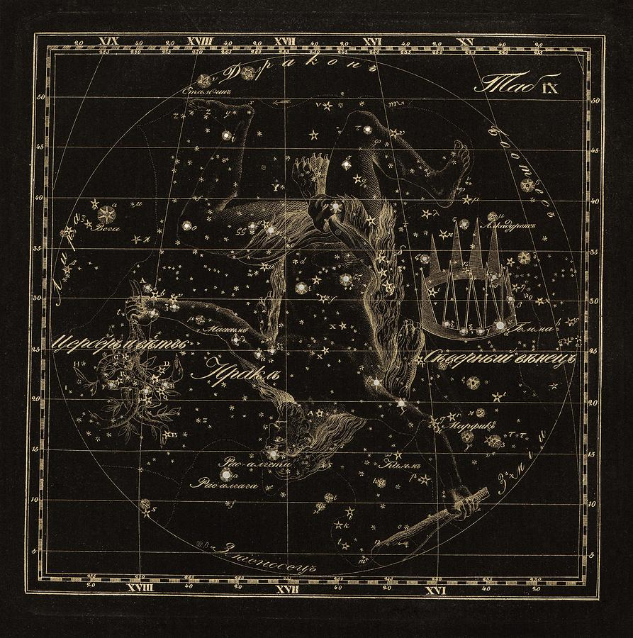 Hercules Photograph - Hercules Constellations, 1829 by Science Photo Library