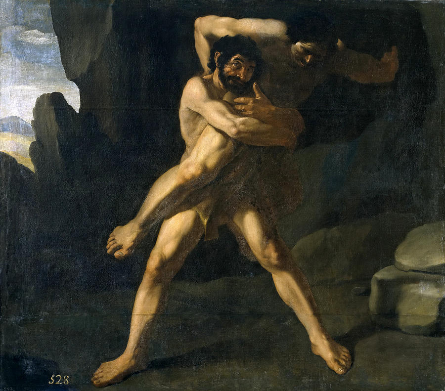 Hercules Wrestling With Antaeus Painting By Francisco De