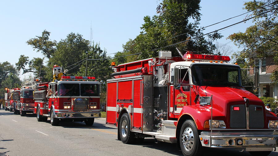 Truck Photograph - Here Come The Firetrucks by Carolyn Ricks