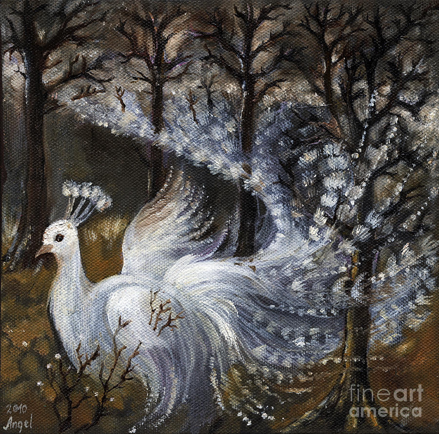 Peacock Painting - Here Comes The Mist by Angel  Tarantella