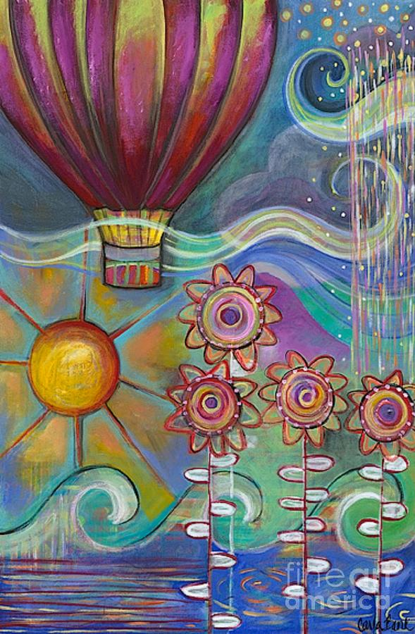 Balloon Painting - Here Comes The Sun by Carla Bank