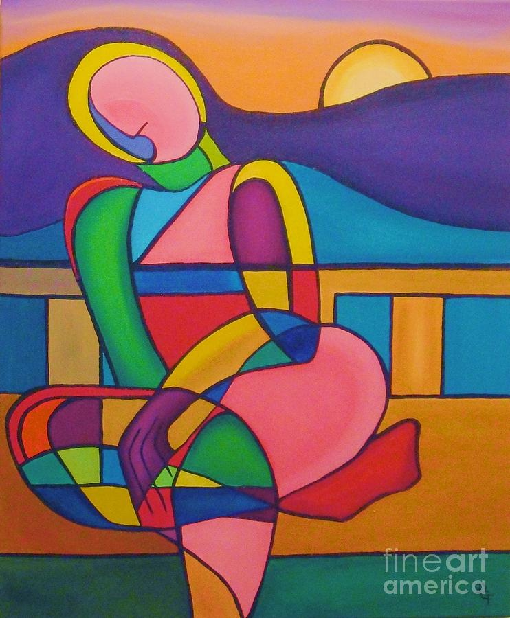 Figurative Painting - Here Comes The Sun by Deborah Glasgow