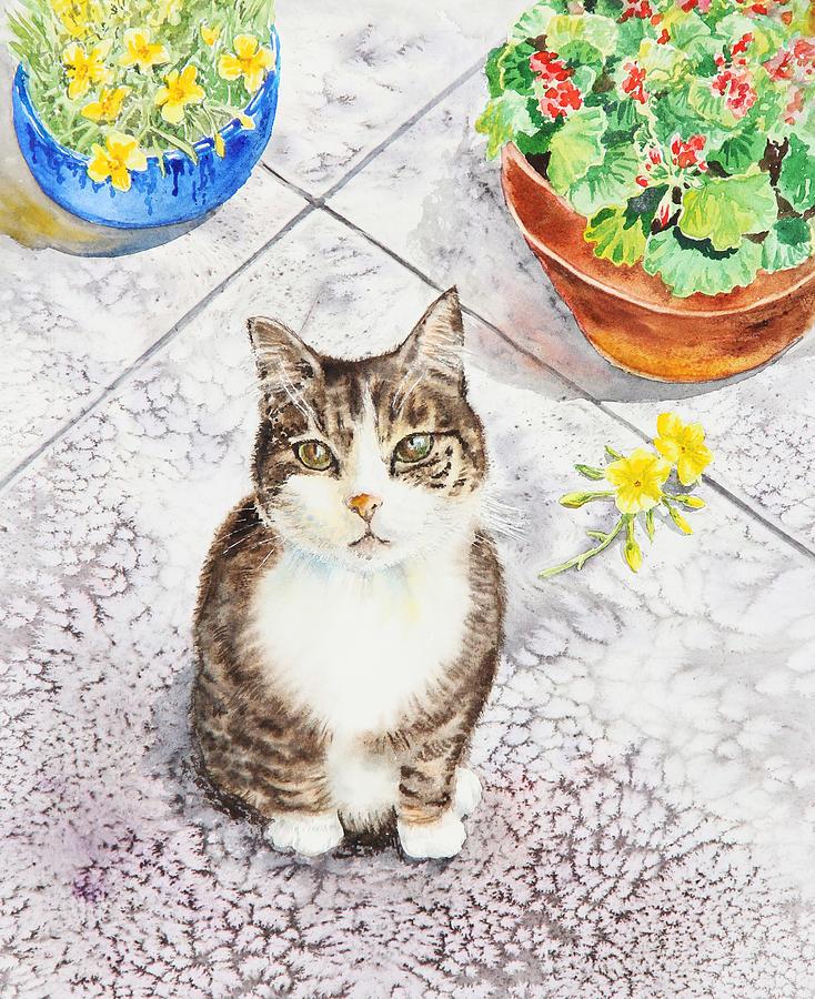 Cat Painting - Here Kitty Kitty Kitty by Irina Sztukowski