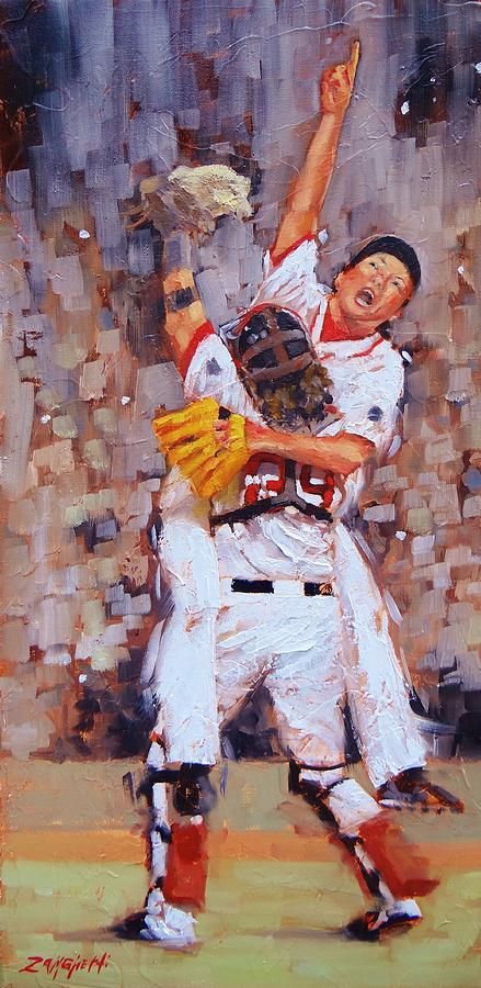Boston Red Sox Painting - Here We Come by Laura Lee Zanghetti