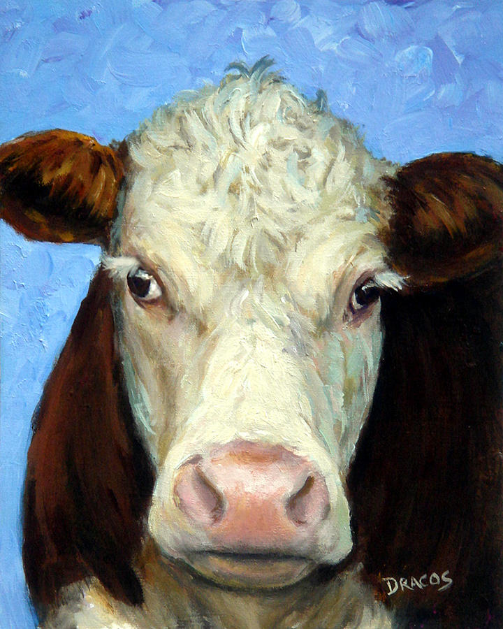 Hereford cow on blue painting by dottie dracos for Cow painting print