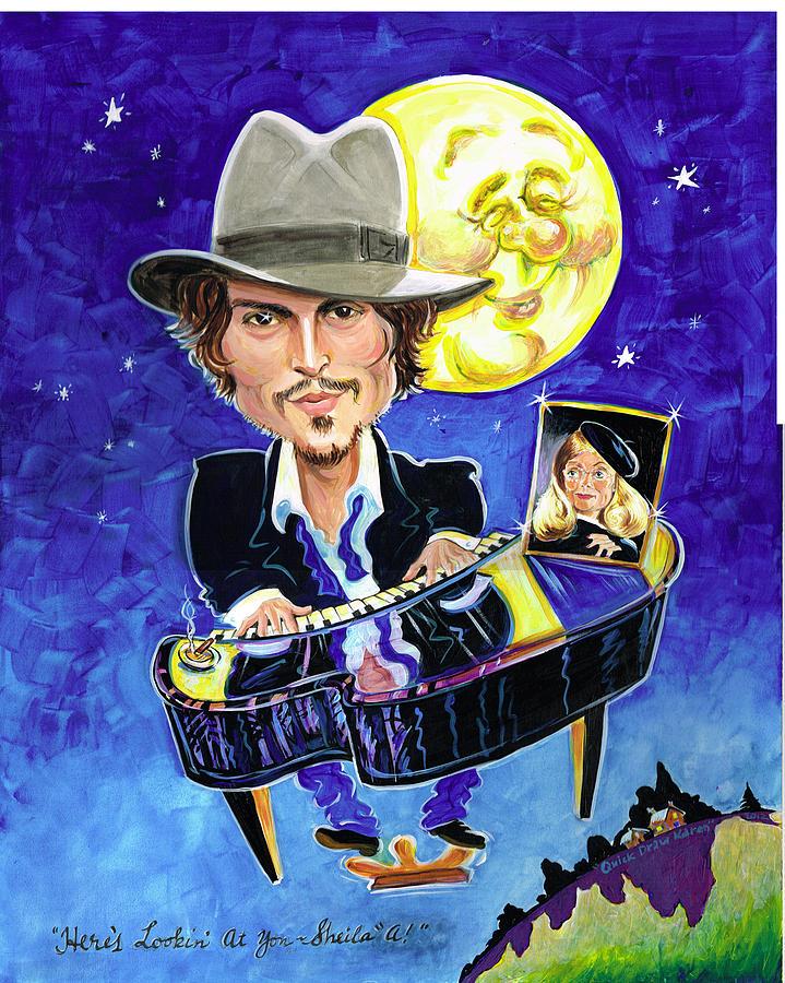 Johnny Depp Painting - Heres Lookin At You... by Karen Fulk