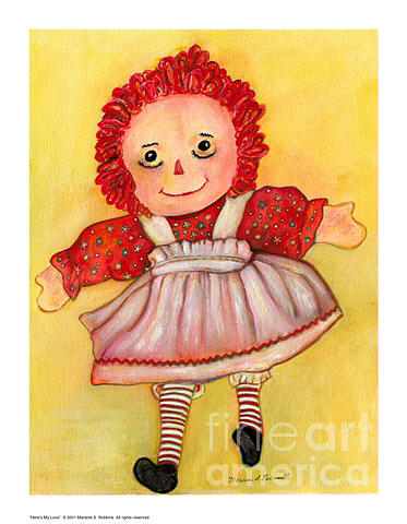 Raggedy Doll Painting - Heres My Love by Marlene Robbins