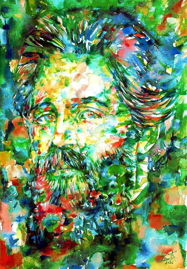 Herman Painting - Herman Melville Watercolor Portrait by Fabrizio Cassetta