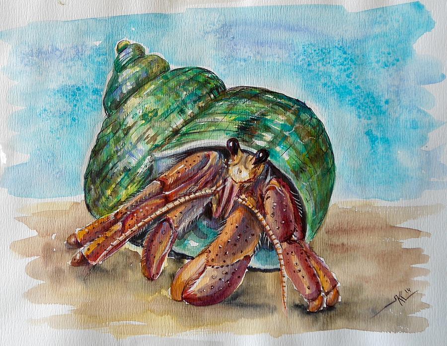 Hermit Crab 4 Painting by Katerina Kovatcheva Hermit Crab Art