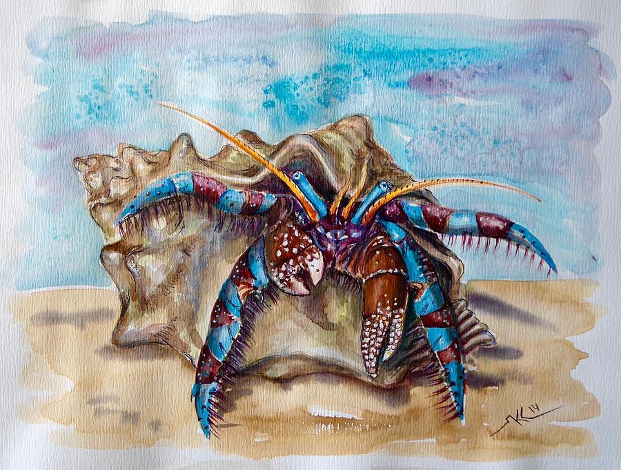 Hermit Crab 5 Painting by Katerina Kovatcheva Hermit Crab Art