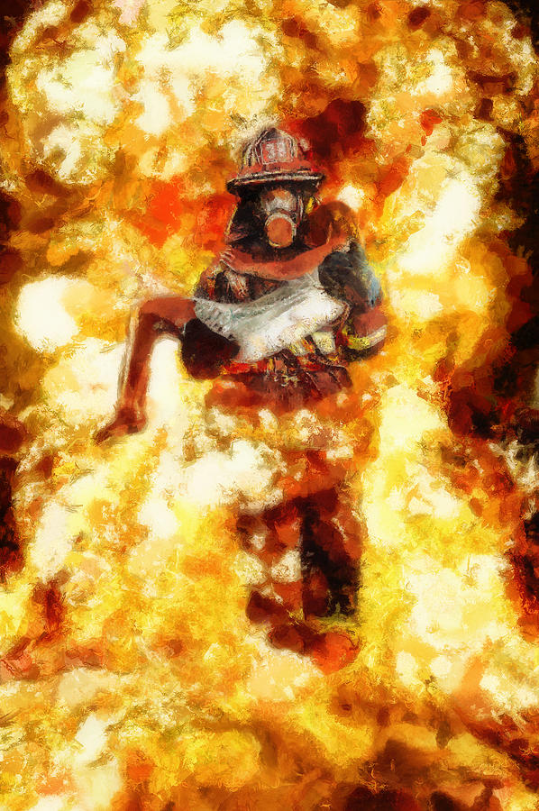 Heroic Firefighter Painting by Christopher Lane