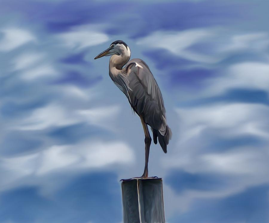 Heron Digital Art - Heron 1 by Karen Sheltrown