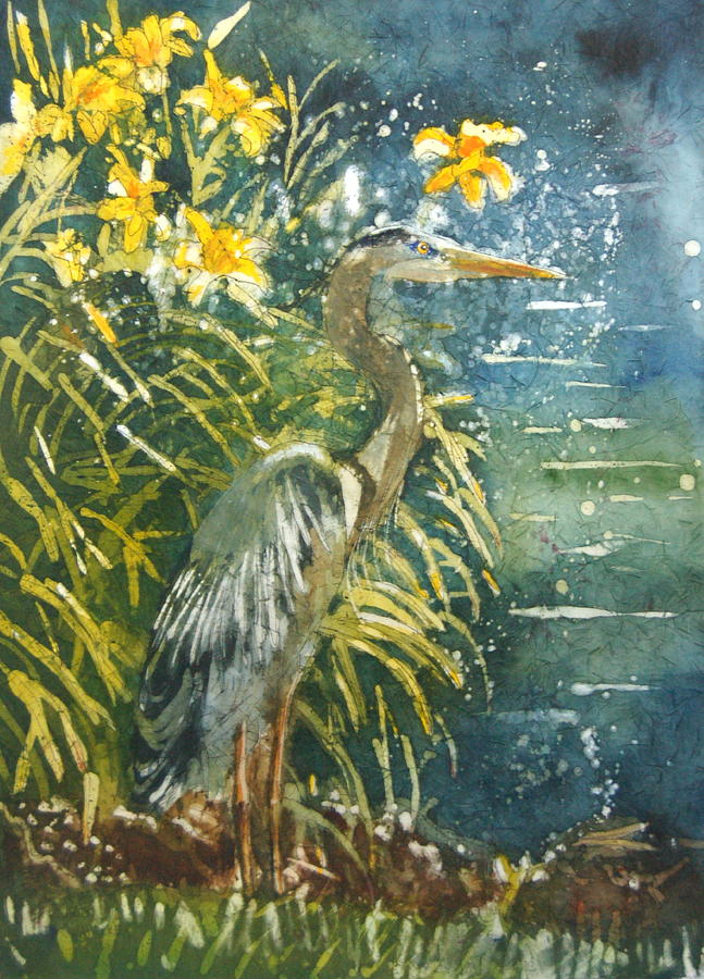 Watercolor Painting - Heron Afternon by Karen Langley