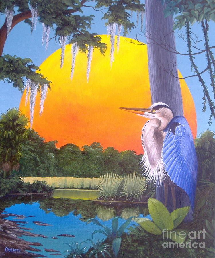 Heron at Sunset-II by Michael Allen
