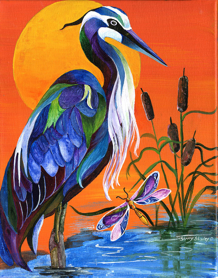 Blue Heron Painting - Heron Blue by Sherry Shipley