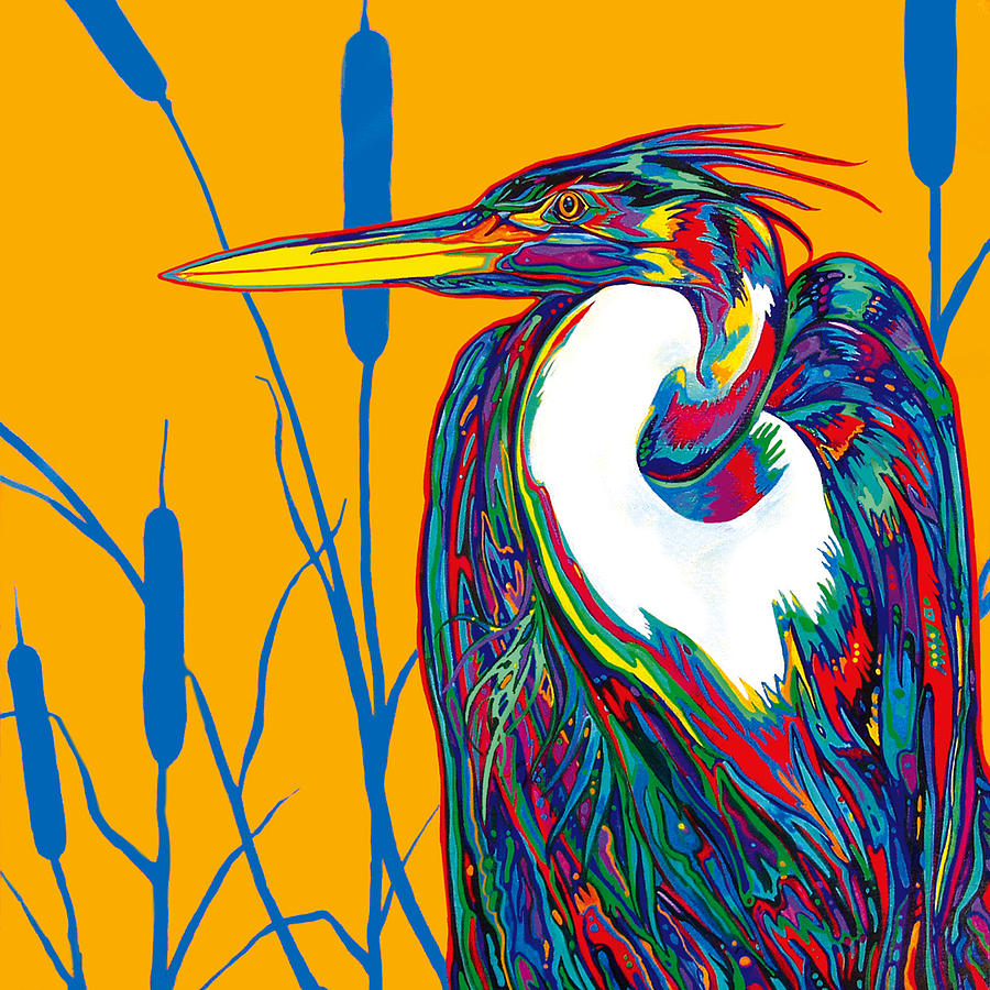 Wildlife Painting - Heron by Derrick Higgins